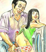 Young girl with ugly man toons art
